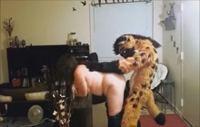 BBW fucking with dude in furry costume