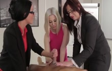 Lucky guy gets handjob by three office ladies