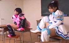 Two cosplay students masturbate for their teacher